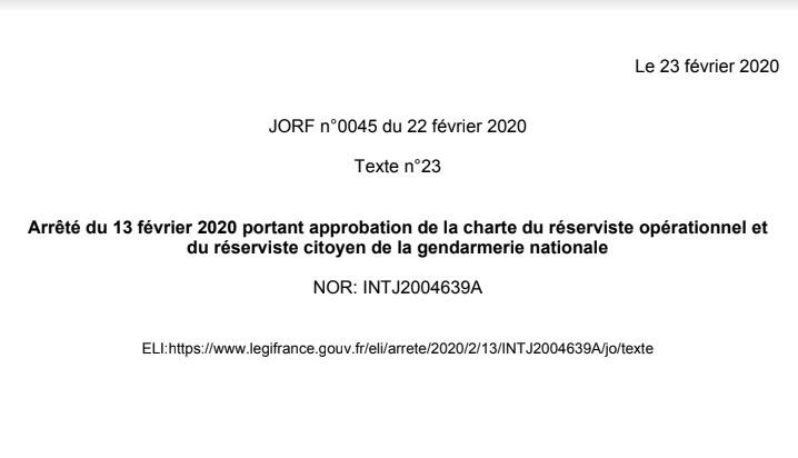 La charte du réserviste de la gendarmerie au Journal Officiel !