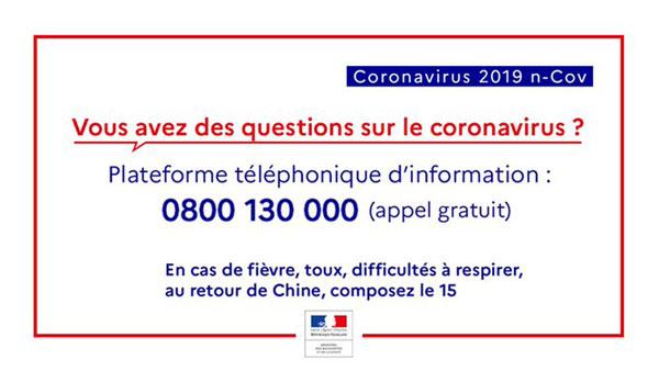Numéro gratuit d'information Coronavirus