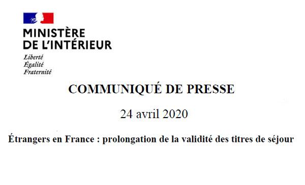 COMMUNIQUÉ DE PRESSE du 24 avril 2020
