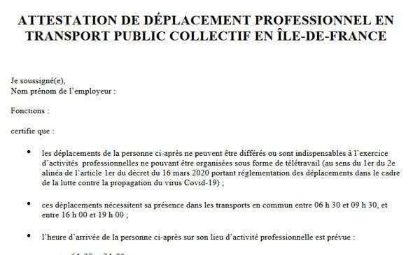 ATTESTATION – DÉPLACEMENT PROFESSIONNEL EN TRANSPORT PUBLIC COLLECTIF EN ÎLE-DE-FRANCE