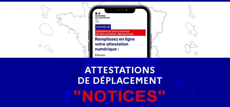 Notices : Attestations de déplacement